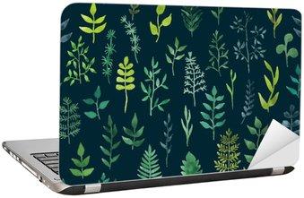 Laptop Sticker Vector groene aquarel bloemen naadloos patroon.