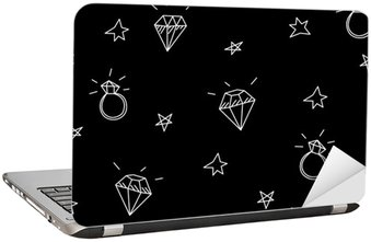 Laptop Sticker Vector seamless pattern with wedding rings, stars and jewels . Old school tattoo elements. Hipster style