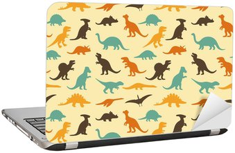Laptop Sticker vector set silhouettes of dinosaur, retro pattern background
