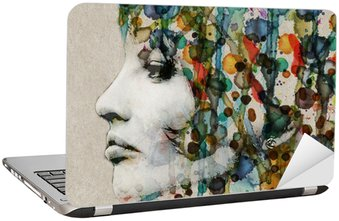 Watercolor female profile Laptop Sticker