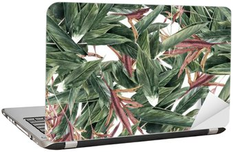 Laptop Sticker Watercolor painting of leaf and flowers, seamless pattern