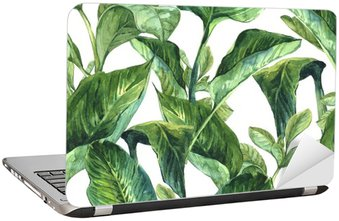 Laptop Sticker Watercolor Seamless Background with Tropical Leaves