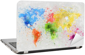 world map painting Laptop Sticker