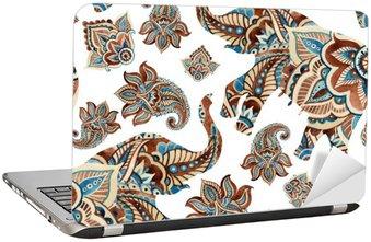 Laptopdekor Akvarell etniska elefant med paisley element bakgrund.