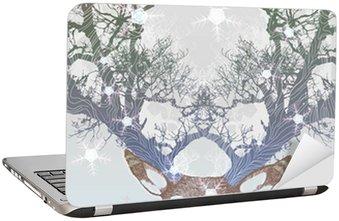Laptopdekor Frysta träd horn rådjur