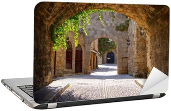 Laptopdekor Medeltida välvda gata i den gamla staden Rhodos, Grekland
