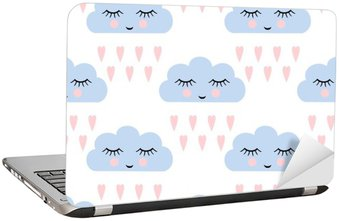 Laptopdekor Moln mönster. Seamless leende sovande moln och hjärtan för barn semester. Söt baby shower vektor bakgrund. Barn ritning stil regniga moln förälskade vektorillustration.