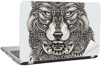 Laptopdekor Mycket detaljerade abstrakt wolf illustration