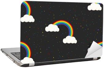 Laptopdekor Natthimlen fantasi kid seamless. Star konfetti, moln och regnbåge pojke grå tapeter och tyg design.
