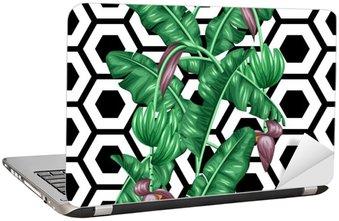 Laptopdekor Seamless bananblad. Dekorativ bild av tropiska bladverk, blommor och frukter. Bakgrund göras utan urklippsmask. Lätt att använda för bakgrund, textil, omslagspapper