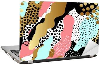 Laptopdekor Seamless mönster eller bakgrund med guldfolie, rosa, svart, vit, blå färger.