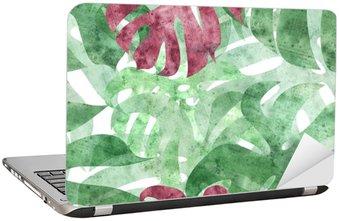Laptopdekor Sömlös repeterbar monstera blad bakgrund