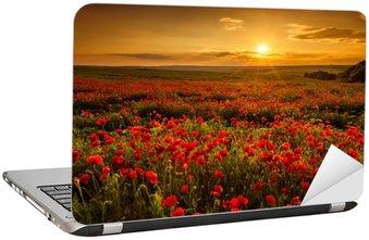 Laptopdekor Vallmofält vid solnedgången