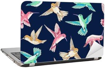 Laptopdekor Vektor sömlösa flygande små fåglar i paradiset samtals mönster flera färger, våren sommaren, milda romantiska kolibri, colibri bakgrund allover tryckdesign