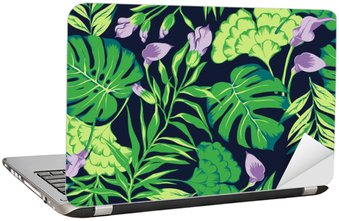 Laptopdekor Vektor sömlösa ljus färgrik tropisk mönster med blommor, split blad, philodendron, regnskog natur, tids Sommarsemester, aktiva tropikerna bakgrund print
