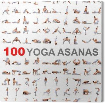 Leinwandbild 100 Yoga-Posen auf weißem Hintergrund