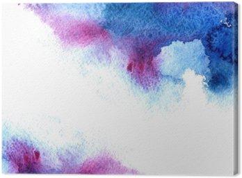 Leinwandbild Abstrakt blau und violett wässrig frame.Aquatic backdrop.Hand gezeichnet Aquarell stain.Cerulean spritzen.