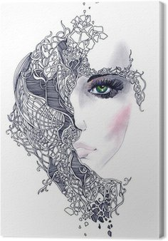 Leinwandbild Abstrakte Frau Gesicht