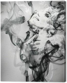 Leinwandbild Abstrakte Frau Porträt. Aquarell Illustration
