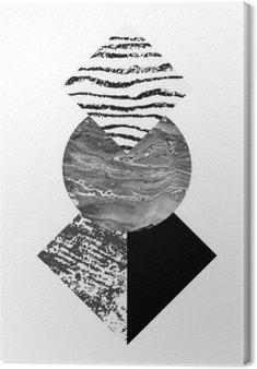 Leinwandbild Abstrakte Geometrie formt mit Aquarell und Grunge Texturen