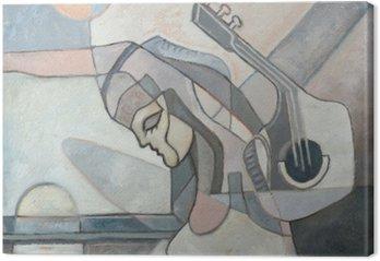 Leinwandbild Abstrakte Malerei mit Frau und Gitarre