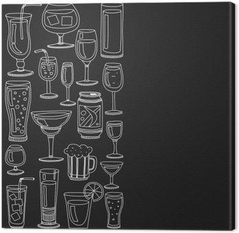 Leinwandbild Alkoholgetränke und Cocktails Icon-Set