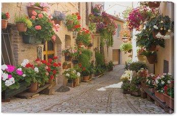 Leinwandbild Alley mit Blumen, Spello