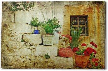Leinwandbild Alte Dörfer von Griechenland - künstlerischen Retro-Stil