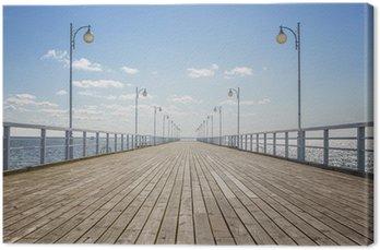Leinwandbild Alte leere hölzerne Pier über dem Meer mit Kopie Raum