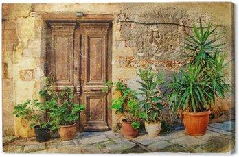 Leinwandbild Alten malerischen griechischen Türen