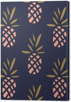 Leinwandbild Ananas auf dem dunklen Hintergrund. Vektor nahtlose Muster mit tropischen Früchten.