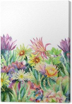 Leinwandbild Aquarell blühenden Kaktus Hintergrund
