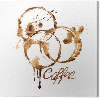 Leinwandbild Aquarell-Emblem mit Kaffeeflecken
