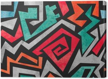 Leinwandbild Aquarell Graffiti nahtlose Muster. Vector bunten geometrischen abstrakten Hintergrund in rot, orange und blaue Farben.