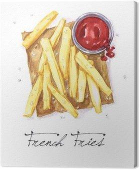 Leinwandbild Aquarell Lebensmittel Malerei - Französisch Fries
