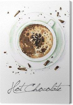 Leinwandbild Aquarell Lebensmittel Malerei - Hot Chocolate