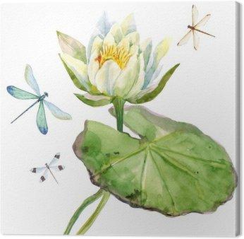 Leinwandbild Aquarell Lotusblume