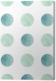 Leinwandbild Aquarell Textur. Nahtlose Muster. Aquarell Kreise in Pastellfarben auf weißem Hintergrund. Pastellfarben und romantische filigranes Design. Tupfen-Muster. Frische Minze und Farben.