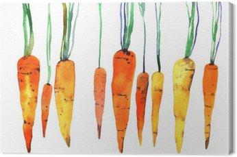 Leinwandbild Aquarell von Hand bemalt Karotte