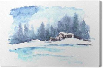 Leinwandbild Aquarell Winter-Muster. Landlandschaft. Das Bild zeigt ein Haus, Fichte, Kiefer, Wald, Schnee und Verwehungen.