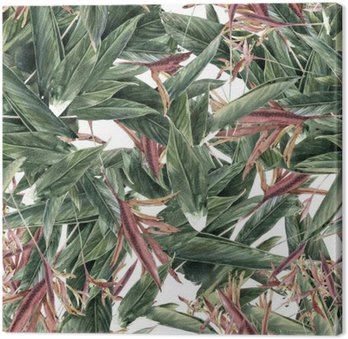 Leinwandbild Aquarellmalerei Blatt und Blumen, nahtlose Muster