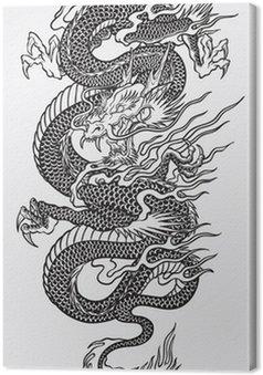 Leinwandbild Asian Dragon Linework Vector