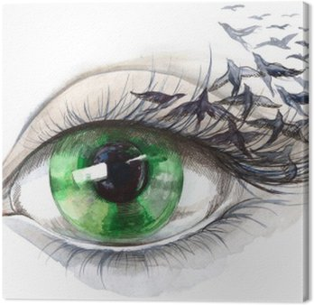 Leinwandbild Auge mit Vögeln (Serie C)