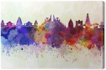 Leinwandbild Bali Skyline im Aquarell Hintergrund