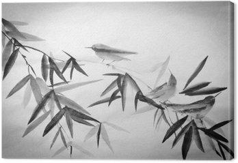 Leinwandbild Bambus und drei Birdies Zweig