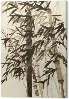 Leinwandbild Bambusbäume und Pflaumen Zweig