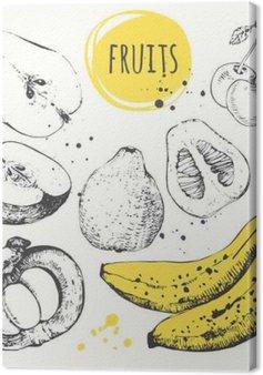 Leinwandbild Banane, Mangostan-Frucht, Apfel, Bergamotte. Hand gezeichnet Set mit frischen Lebensmitteln.