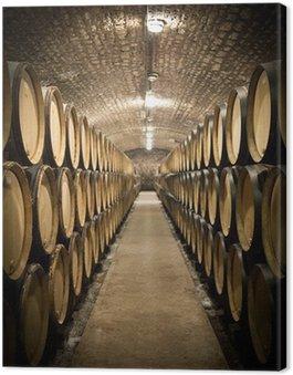 Leinwandbild Barrels im Weinkeller