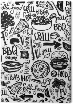 Leinwandbild BBQ Grill Doodle Seamless Pattern. Bunte Grill Design mit Hand gezeichneten Buchstaben für das Verpacken, Banner und Promotion.