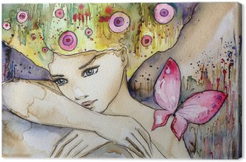 Leinwandbild Beautiful girl with butterfly